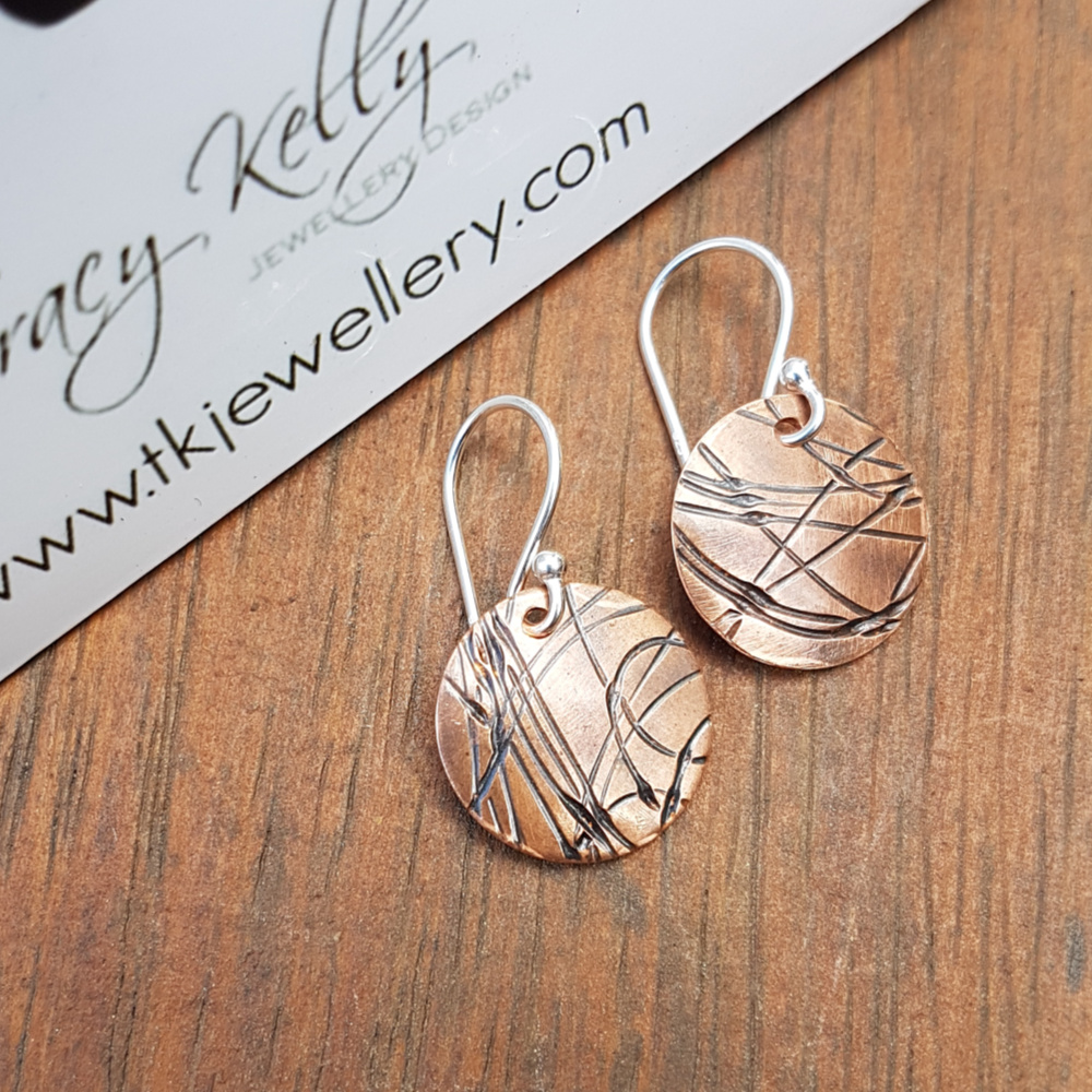 Sterling Silver and Hand-Rolled Copper Earrings