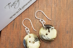Vintage Button Earrings - Sterling Silver