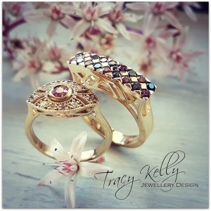 gold rings pink