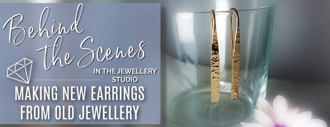 Gold earrings. Handmade earrings using recycled gold.